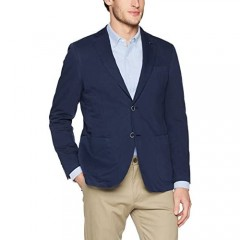 Bugatchi Men's Two Button Unconstructed Single Breasted Navy Blazer