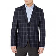 Kroon Men's White 100% Silk Italian Window Pane Fabric
