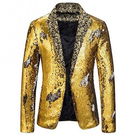 Mens 2 Colored Sequin Tuxedo Jacket Slim Fit Party Dress Suit Blazer Sport Coat