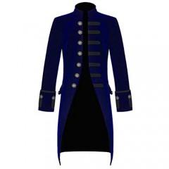 Mens Blue Velvet Vintage Goth Steampunk Victorian Handmade Frock Coat (4XL Blue)