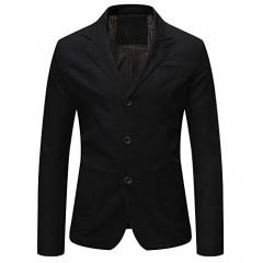 Mens Casual Autumn Cotton Jacket 3 Button Classic Fit Blazer Sport Coat Tops