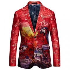 Mens Colourful Print Slim Suit Two Button Single Breasted Blazer Jacket