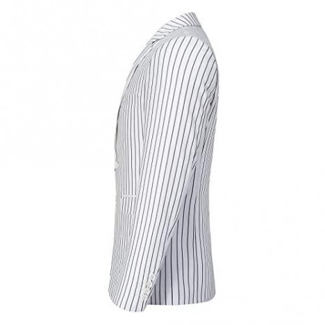Mens Slim Fit Casual Blazer Two Button Striped Suit Jacket