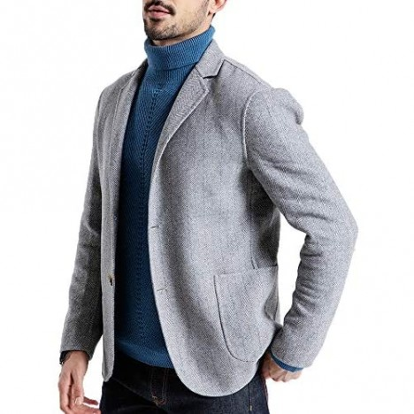 Mens Two Button Suit Jacket Casual Wool Blend Blazer Regular Fit Thicken Sport Coat