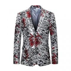 MOGU Mens Fashion White Floral Printed Suit Jacket Slim Fit Sport Coat Blazers