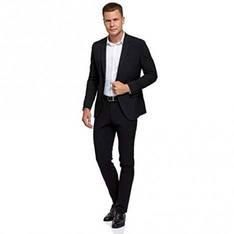oodji Ultra Men's Slim-Fit Buttoned Blazer Black US 42 / EU 52 / L