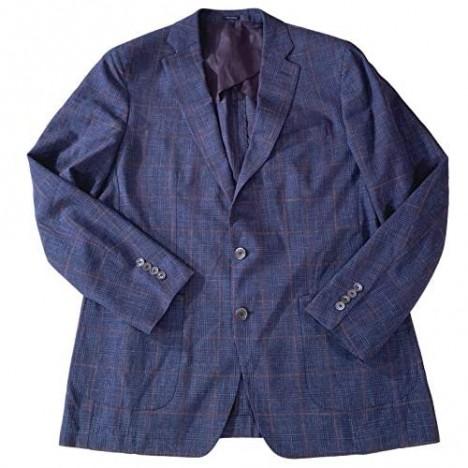 PETER MILLAR Collection Men's Waimea Windowpane Plaid Soft Wool/Silk/Linen Partially Lined Blazer Starlight Blue Size 44