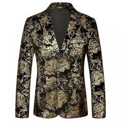 PIZOFF Men's Paisley Blazer Notched Lapel Slim Fit Dress Floral Suit
