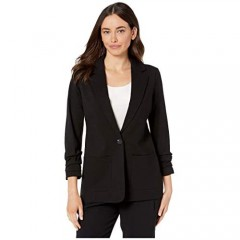 Vince Camuto Women's Ruched Sleeve Ponte Two-Pocket Blazer