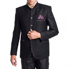 WINTAGE Men's Linen Blend Wedding Nehru Mandarin Blazer - Black