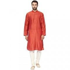 KISAH Men's Indian Magenta Dupion Silk Pin Tucks Kurta Churidar Set for Wedding & Festive Season