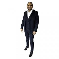 Regiis Men's Suit: Slim Fit 3 Piece 2 Buttons & Notched Lapel with Pick Stitching