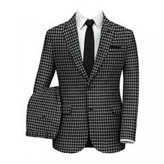 Wemaliyzd Men's 2 Piece Classic Fit Suit Notch Lapel Houndstooth Blazer Pants