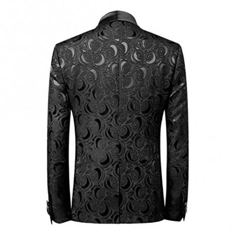 Wemaliyzd Men's 3 Pieces Jacquard Wedding Suit Classic Fit Blazer Vest Pants
