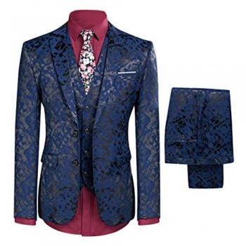 YFFUSHI Mens One Button Tailoring Floral 3 Piece Slim Fit Suit