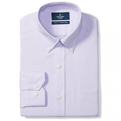 Brand - Buttoned Down Men's Tailored-Fit Button Collar Pinpoint Non-Iron Dress Shirt Purple 18 Neck 37 Sleeve (Big and Tall)