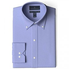 Brand - Buttoned Down Men's Tailored-Fit Button Collar Pinpoint Non-Iron Dress Shirt Blue 17 Neck 34 Sleeve