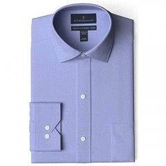 Brand - Buttoned Down Men's Tailored Fit Spread Collar Solid Non-Iron Dress Shirt Blue w/ Pocket 18 Neck 35 Sleeve