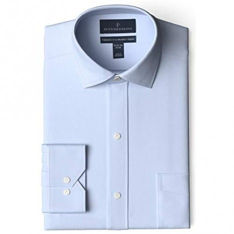 Brand - Buttoned Down Men's Tailored Fit Spread Collar Solid Non-Iron Dress Shirt Light Blue w/ Pocket 15 Neck 31 Sleeve