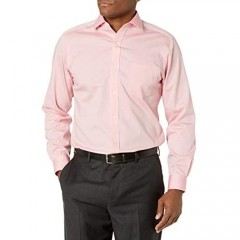 Brand - Buttoned Down Men's Tailored Fit Spread Collar Solid Non-Iron Dress Shirt Pink w/ Pocket 16 Neck 33 Sleeve