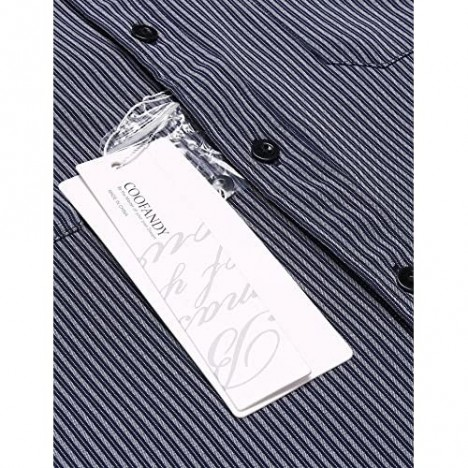 COOFANDY Men's Wrinkle-Free Classic Vertical Striped Long Sleeve Business Dress Shirts (Large Navy Blue)