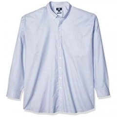 Cutter & Buck Men's Wrinkle Resistant Stretch Long Sleeve Button Down Shirt Light Blue Oxford Large Tall