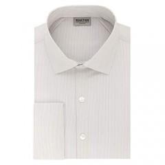 Kenneth Cole REACTION Men's Dress Shirt Slim Fit Technicole Stretch Stripe French Cuff