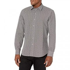 Bugatchi Men's Long Sleeve Point Collar Shaped Woven