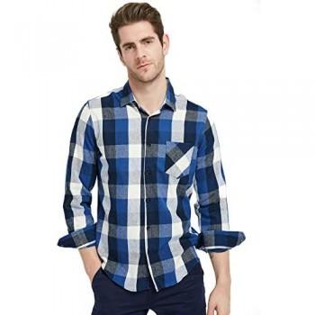 Ebind Men's Flannel Shirt Plaid Long Sleeve Non Iron Casual Button Up Shirt