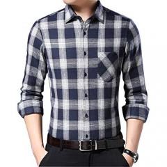 Ebind Men's Long Sleeve Plaid Shirt Casual Button Up Cotton Flannel Shirt Non Iron