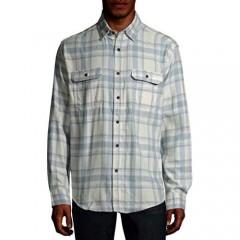 George Clothing Men's Long Sleeve Flannel Shirt (White & Blue Plaid Large 42/44)