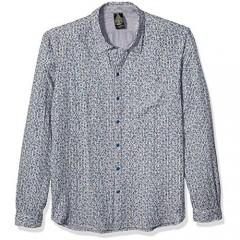 John Varvatos Star USA Men's Neil Ditsy Print Over Stripe Reversible Shirt