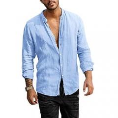 Men's Linen Button Down Shirt Long Sleeve Casual Loose Hippie Beach Yoga T-Shirts Tops