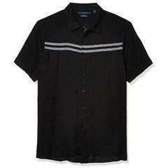 Perry Ellis Men's Big & Tall Chest Stripe Linen Short Sleeve Button-Down Shirt