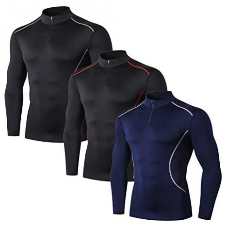 3 Packs Mens Compression Shirt 1/4 Zip Pullovers Camo Long Sleeve Cool Dry Fit T-Shirts Gym Training Running Workout Shirts