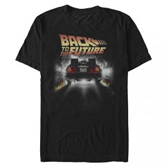 Back To The Future Men's Vintage Peelout Basic Solid Tee