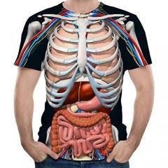 Emlyn Adrian Skeleton Internal Organs 3D Printed Round Neck Short-Sleeved Anime T-Shirt