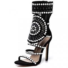 azmodo Strappy High Stiletto Heel Dress Gladiator Peep Toe Sandals Apricot Color