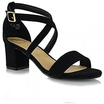 Essex Glam Womens Low Heels Strappy Block Heel Ankle Strap Evening Sandals