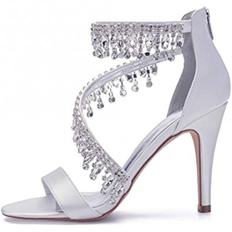 IN4 Wedding Shoes for Bride High Heels Sandals Ankle Strap Crystal Zipper Back Formal Evening Prom Party Dress Shoes Pumps for Women