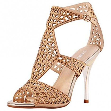 Women's T-Strap High Heel Sandals Peep Toe Rhinestone Hollow Out Breathable Sexy Stiletto Pumps Heeled Shoes