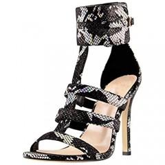Yolkomo Women's Open Toe Cut-Out Snakeskin High Heel Sandals Ankle High Stiletto Heel Sandals