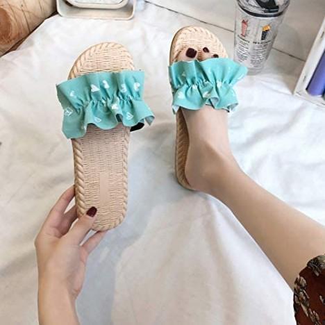 Aelidiya Women's Polka Dot Ruffle Sandal Anti-Slip Flip Flop Casual Beach Flat Slipper