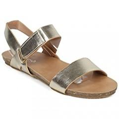 Alrisco Women Leatherette Double Band Flat Walking Sandal HH20