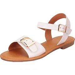 Cambridge Select Women's Open Toe Oversized Buckle Flat Sandal