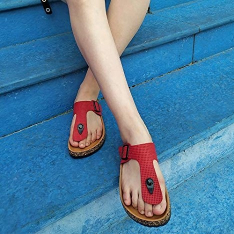 Fitclusion Women Thong Slipper Cork Slides Sandals Flip Flop Casual with Buckle Adjust Footbed Comfortable