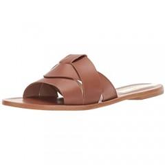 KAANAS Women's Campinas Geo Braided Flat Leather Slide Sandal Shoe