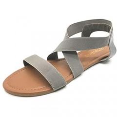 MUDAN Women's Elastic Flat Sandals (10 B (M) US gray-b)