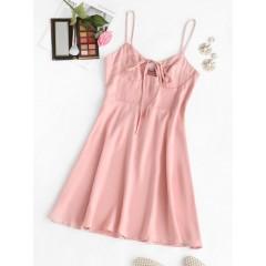 Bowknot Smocked Back Mini Dress