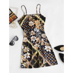 Floral Printed Front Slit Cami Bodycon Dress